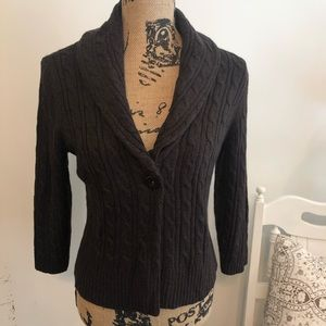 Loft Ann Taylor brown cable knit cardigan size S